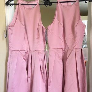 Rose Pink sleeveless Prom or Bridesmaid dress